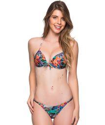 Tropical print triangle push-up bikini with adjustable bottom - CORTINAO NORONHA FLORAL