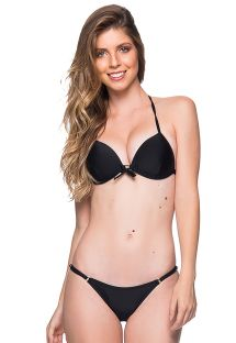 Bikini triangle push up noir, tanga réglable - CORTINAO PRETO