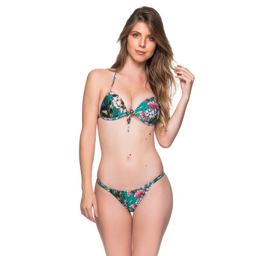 Green floral triangle push-up bikini with adjustable bottom - CORTINAO TROPICAL GARDEN