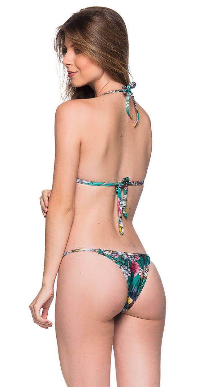 Green floral triangle push-up bikini with adjustable bottom - CORTINAO TROPICAL GARDEN