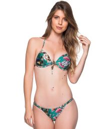 Bikini triangle push up, tanga réglable vert fleuri - CORTINAO TROPICAL GARDEN