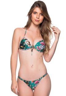 Bikini floral verde top triángulo push-up y braguita ajustable - CORTINAO TROPICAL GARDEN