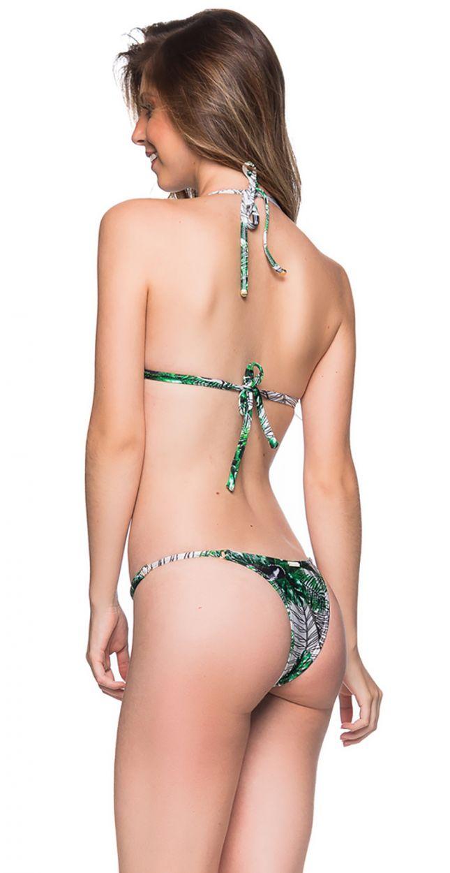 Green foliage bikini with slim adjustable sides - CORTINAO VIUVINHA