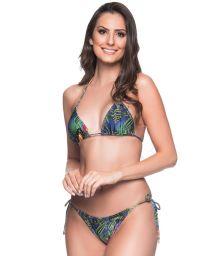 Multicolored tropical Brazilian triangle bikini - CORTINIHA ARARA AZUL