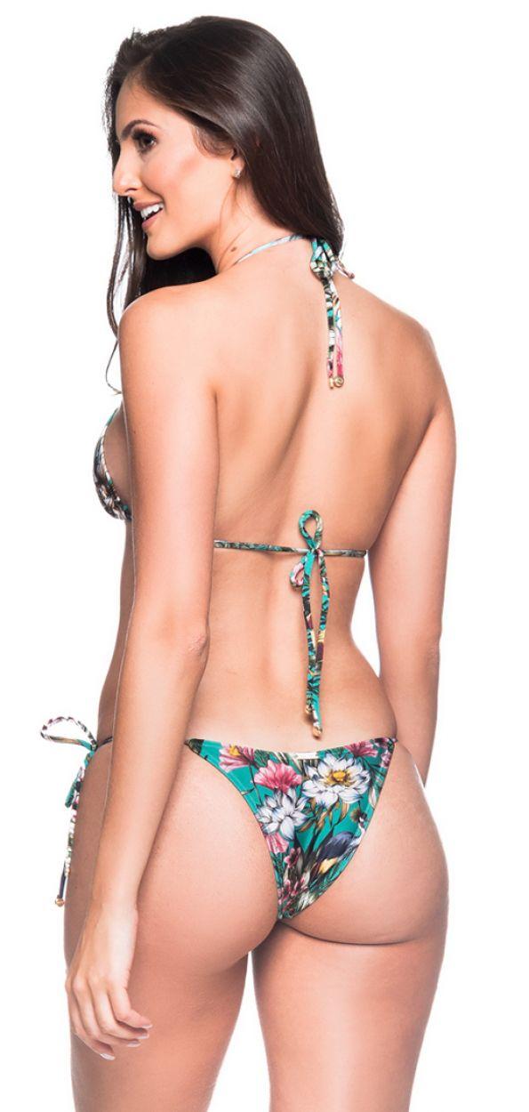Green floral Brazilian triangle bikini - CORTININHA TROPICAL GARDEN