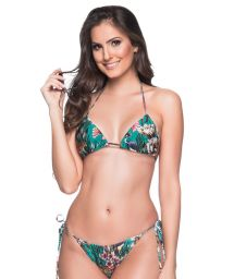Green floral Brazilian triangle bikini - CORTININHA TROPICAL GARDEN