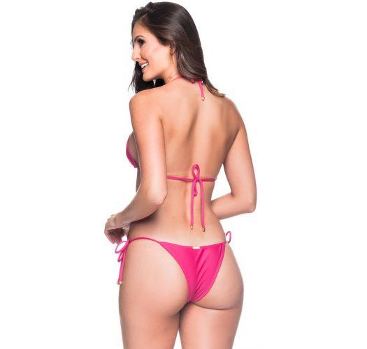 Rosa Brazilian geknoteter Triangel-Bikini - CORTININHA TROPICALIA