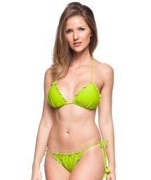 Lime green soft padded side-tie Brazilian bikini - CRISTO REDENTOR
