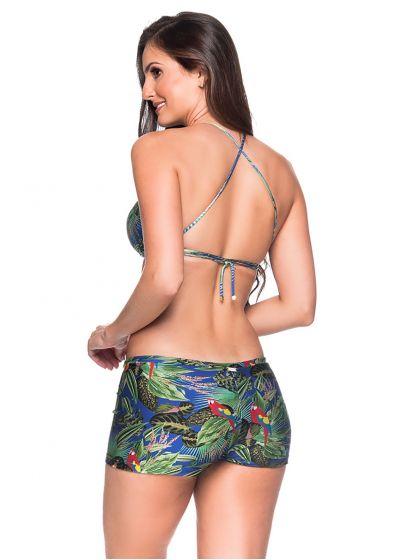 Tropischer Crop-Top-Bikini, Shorty-Unterteil - CRUZADO ARARA AZUL