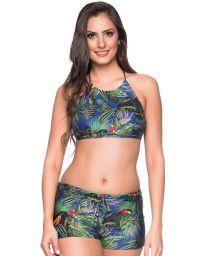 Colorful tropical crop top bikini with shorty - CRUZADO ARARA AZUL