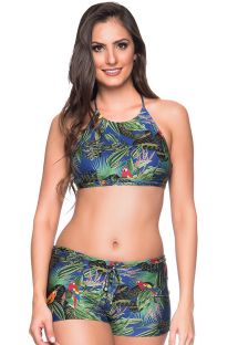 Colorful tropical crop top bikini with shorty - CRUZADO ARARA AZUL