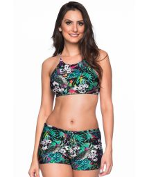 Tropischer Crop-Top-Bikini, Shorty-Unterteil - CRUZADO ATALAIA