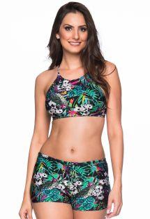 Biquíni de top olímpico e calção floral multicolorido - CRUZADO ATALAIA