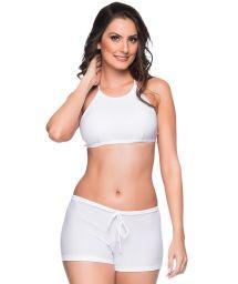 Bikini crop top et shorty blanc uni - CRUZADO BRANCO