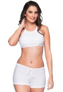 Witte crop top bikini en shorty - CRUZADO BRANCO