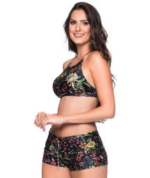 Black floral crop top bikini with shorty bottom - CRUZADO DREAM