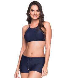 Navy blue crop top bikini with shorty bottom - CRUZADO MIRAMAR