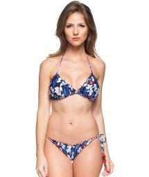 Floral blue scrunch bikini with red tassels - CRUZEIRO DO SUL