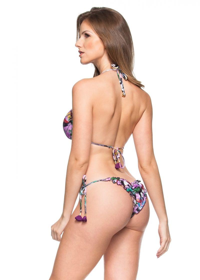 Pink Cuba print scrunch bikini with tassels - CUBA ROSA