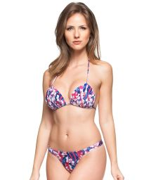 Pink and blue floral print G-string bikini - DESTINO PARADISIACO