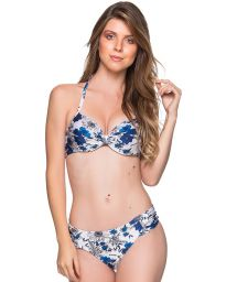 Floral blue & white underwired balconette bikini - DRAPE ATOBA