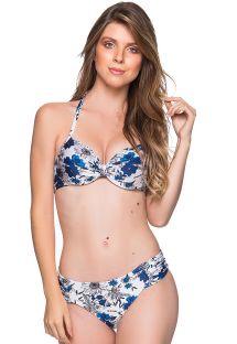 Balkonett-bikini og underdel med brede sider blomstret blå/hvit - DRAPE ATOBA