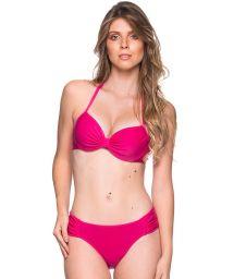 Pink balconette bikini with underwire - DRAPE TROPICALIA
