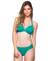 Green halter bikini with tab side bottom and stones - DRAPEADA ARQUIPELAGO