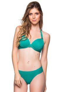 Bikini verde de top halter y braguita con laterales plisados  y piedras - DRAPEADA ARQUIPELAGO