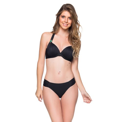 Black halter bikini with tab side bottom and stones - DRAPEADA PRETO