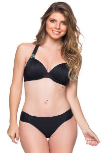 Black halter bikini with tab side bottom and stones - DRAPEADA PRETO