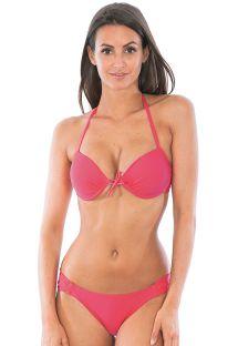 Bikini balconet push up rosa, con braguita de forma fija escotada - ESSENCIAL PINK FLOYD