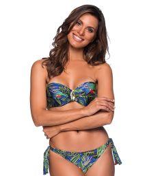 Accessorized bandeau bikini in colorful tropical print - FAIXA ARARA AZUL