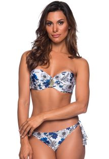 Accessorized bandeau bikini in blue & white floral print - FAIXA ATOBA