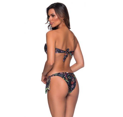 Bikini nero stampa floreale con top a fascia e accessorio - FAIXA DREAM