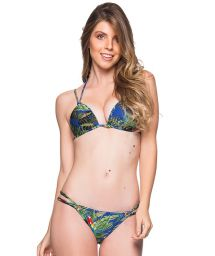 Tropical colorful double strap triangle Brazilian bikini - FIXO ARARA AZUL