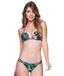 Colorful floral double strap triangle Brazilian bikini - FIXO ATALAIA