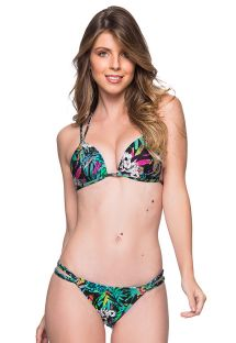 Colorful floral double strap triangle Brazilian bikini - FIXO ATALAIA