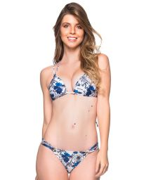 Blue and white floral triangle padded push-up bikini - FIXO ATOBA