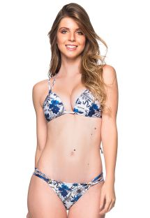 Blue and white floral triangle padded push-up bikini - FIXO ATOBA