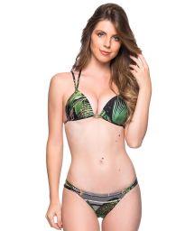 Tropical green double strap triangle Brazilian bikini - FIXO BOTANICAL