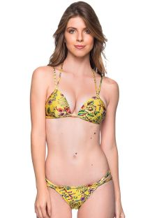 Yellow floral double strap triangle Brazilian bikini - FIXO DREAM AMARELA