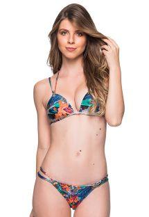Brasiliansk trekant bikini med tropisk print og dobbelte stropper - FIXO NORONHA FLORAL
