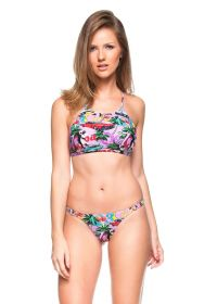 Pink Cuba print crop top bikini with crossed back - FLOR DE MEL