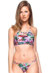 Pink Cuba print crop top bikini with crossed back - FLOR DE MEL