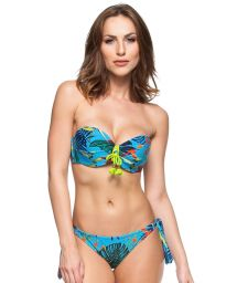 Bluepadded bandeau bikini withplant theme print - FLORIANOPOLIS