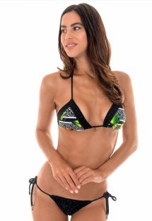 Black tropical/polka dot Brazilian scrunch bikini - FRUTAS POA