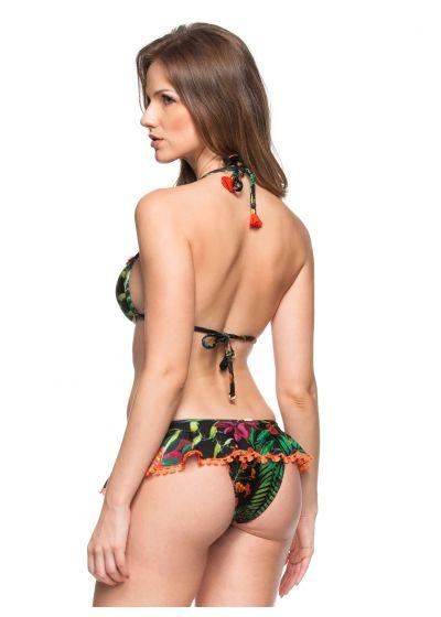 Hårt vadderad tropikmönstrad bikini med kjolliknande byxa och tofsar - ILHA BONITA