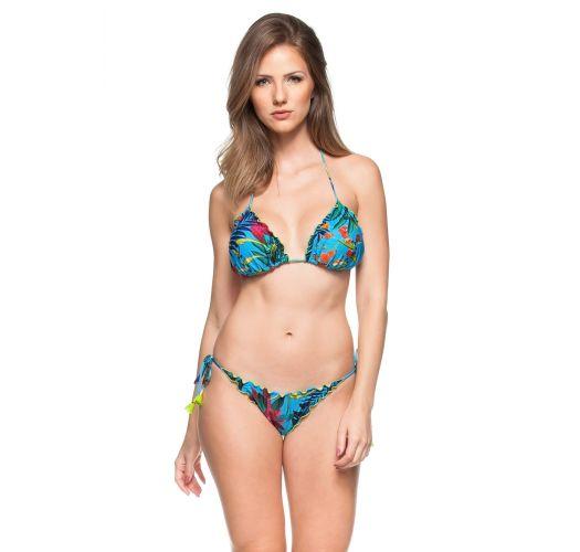 Scrunch-Bikini, blau, Pflanzenmuster, Pompons - ILHA DAS ESPECIARIAS