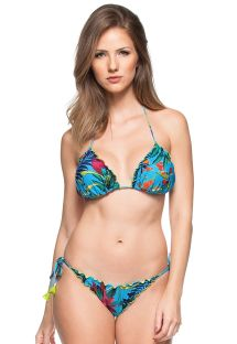 Blue scrunch bikini with plant theme print and tassels - ILHA DAS ESPECIARIAS